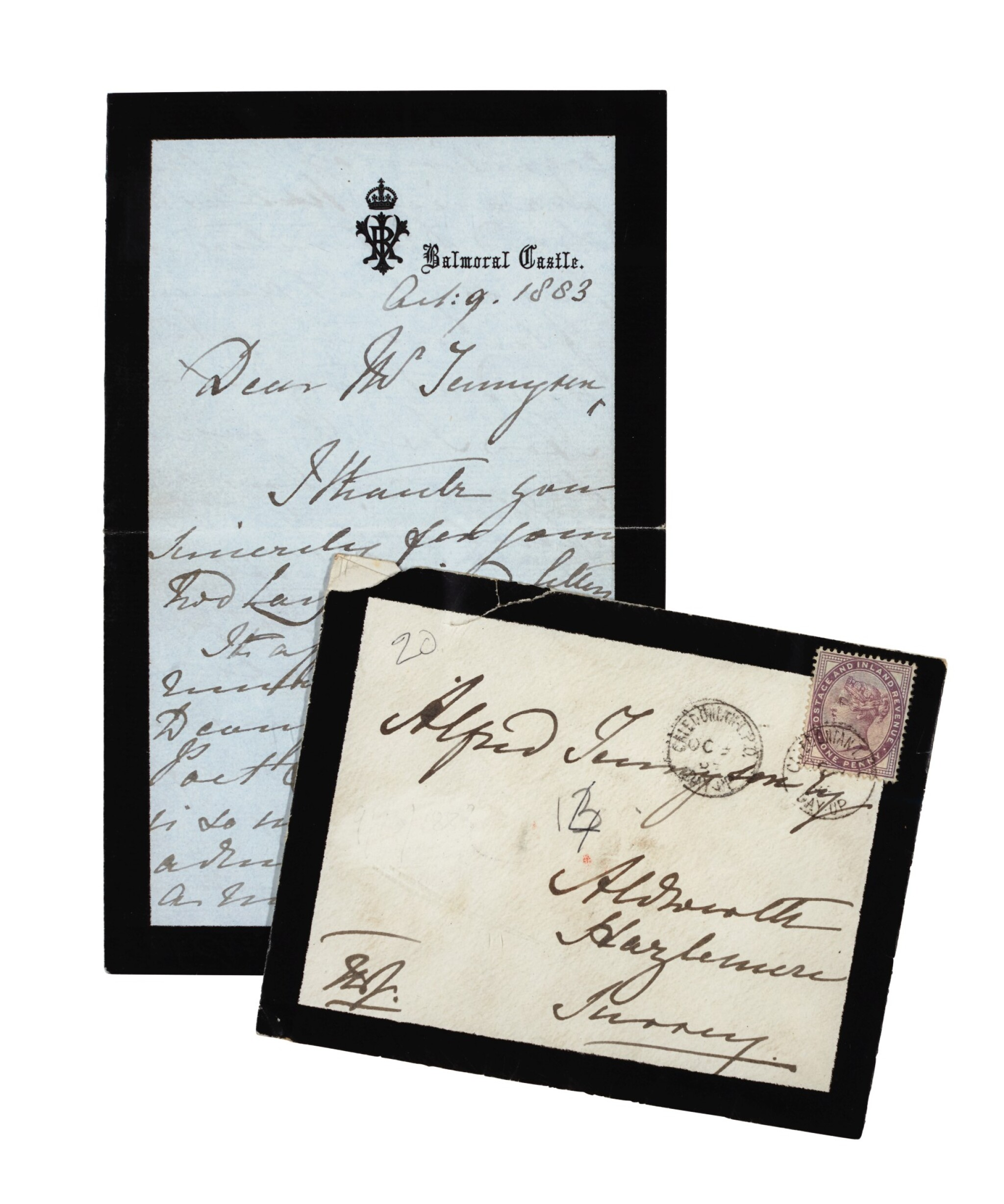 View full screen - View 1 of Lot 126. QUEEN VICTORIA   autograph letter signed, to Tennyson, October 1883.