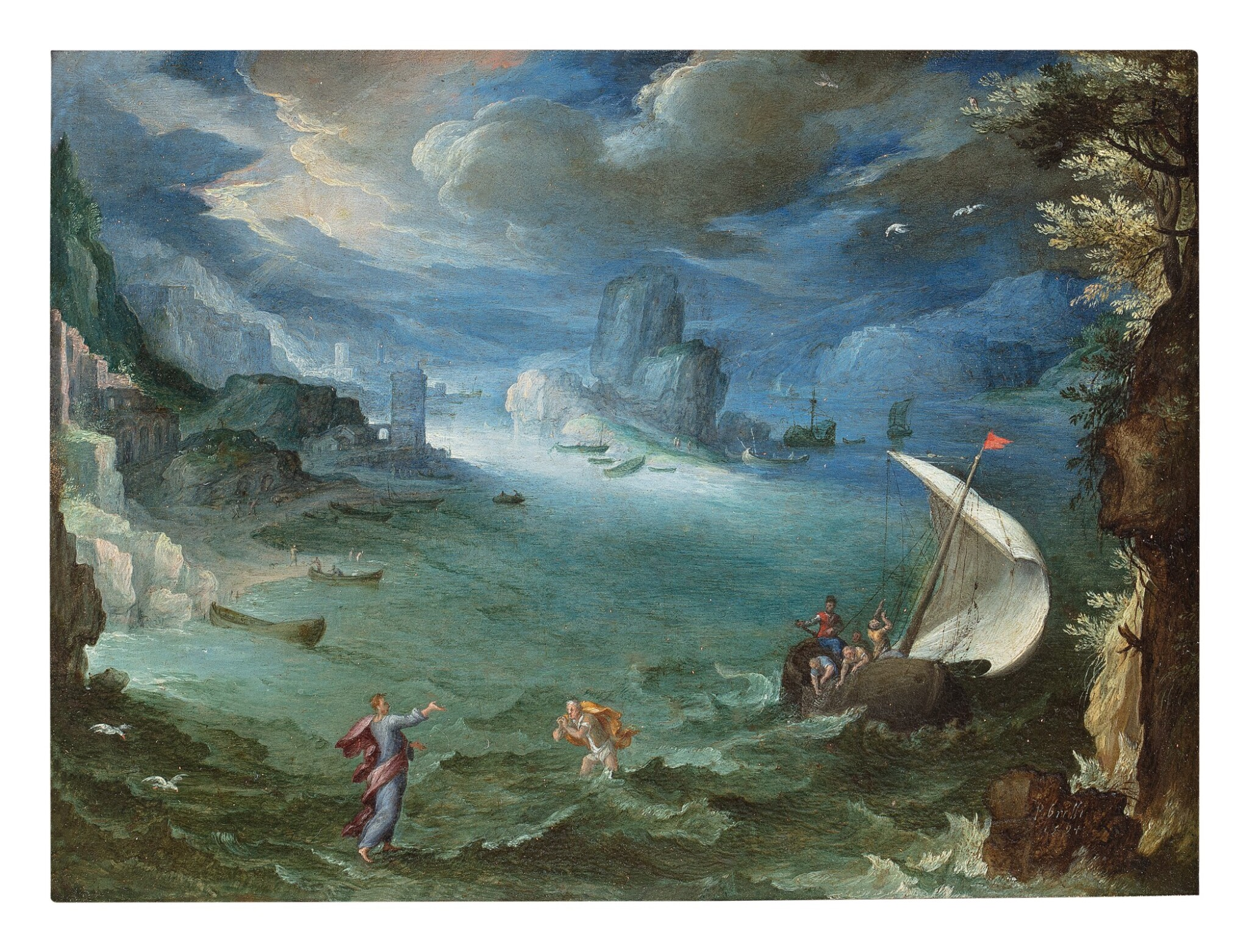 View full screen - View 1 of Lot 138. PAUL BRIL  |  COASTAL LANDSCAPE WITH THE CALLING OF SAINT PETER.