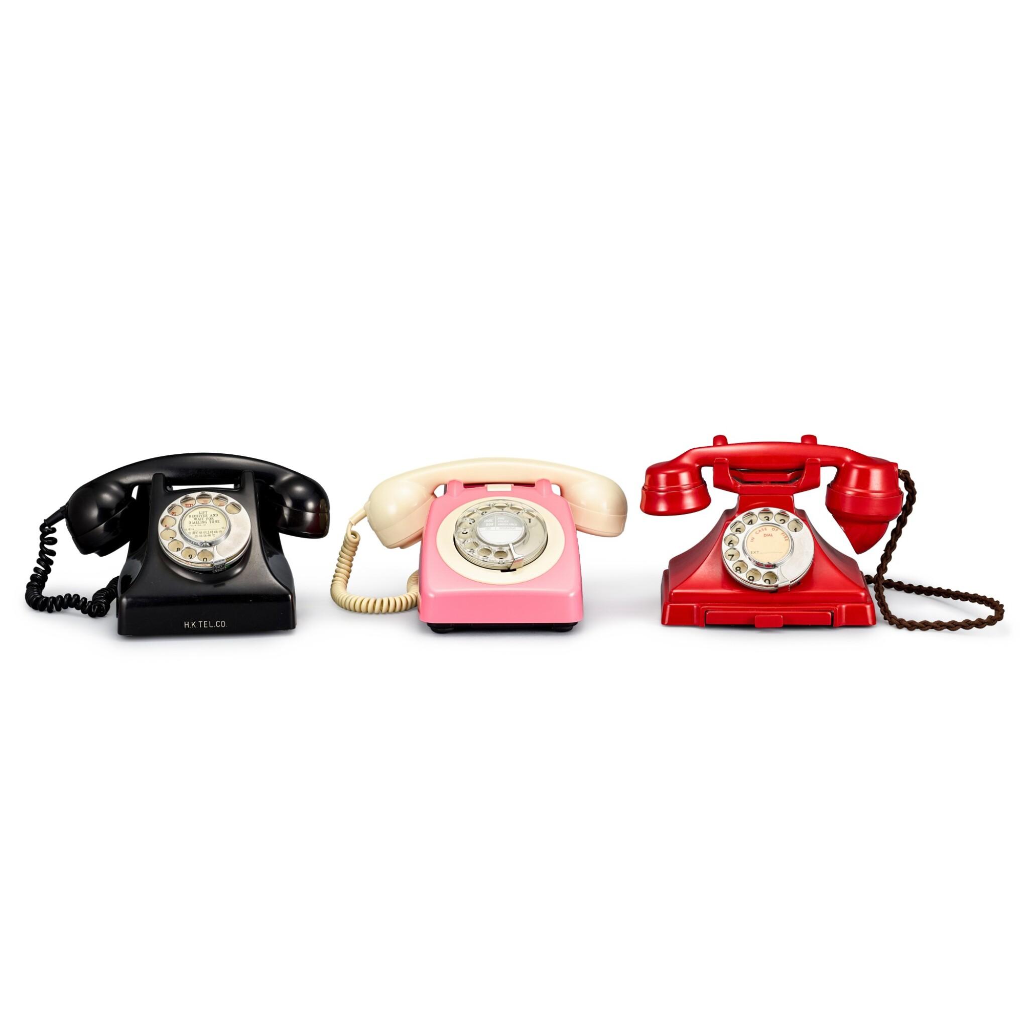 View full screen - View 1 of Lot 2011. Three old Hong Kong landline telephones | 古老電話一組三件.