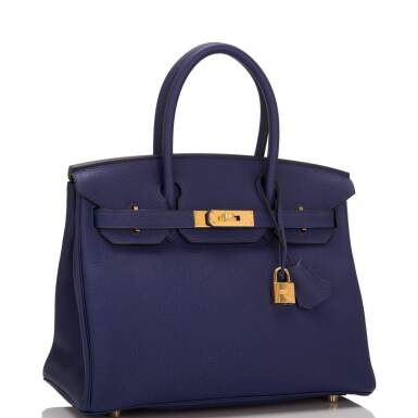 View 2. Thumbnail of Lot 5. HERMÈS   BLUE ENCRE BIRKIN 30CM OF TOGO LEATHER WITH GOLD HARDWARE.