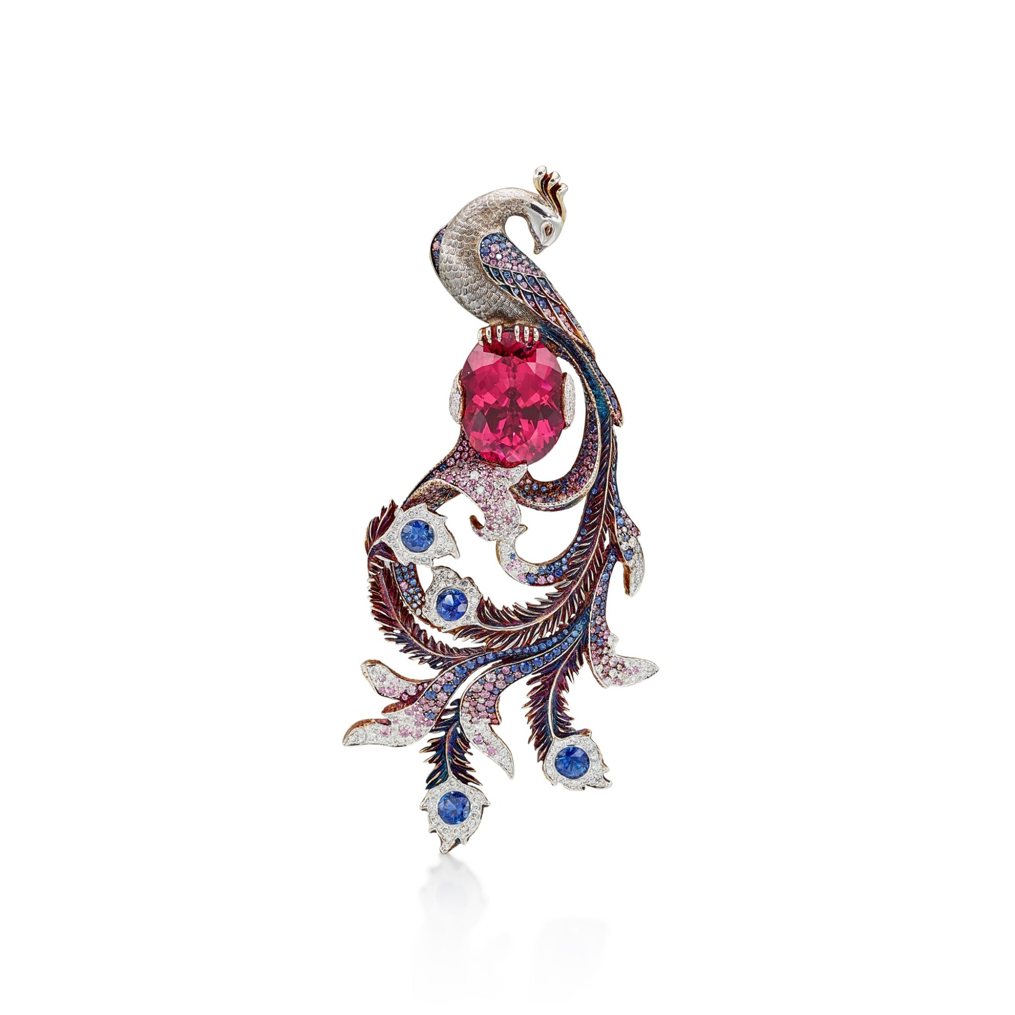View full screen - View 1 of Lot 8014. Rubellite, Sapphire and Diamond Brooch | 碧璽 配 藍寶石 及鑽石 胸針.