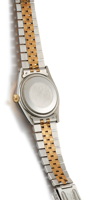 ROLEX | DATEJUST, REFERENCE 16013, A YELLOW GOLD, STAINLESS STEEL AND DIAMOND-SET WRISTWATCH WITH DATE AND BRACELET, CIRCA 1987