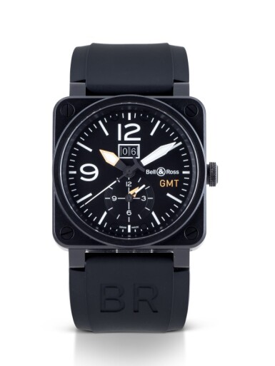 BELL & ROSS | AVIATION TYPE GMT, REF BR03-51-S BLACK PVD-COATED STAINLESS STEEL DUAL TIME WRISTWATCH WITH DATE CIRCA 2014