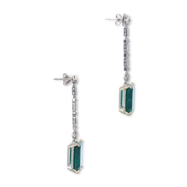 View 2. Thumbnail of Lot 1169. Pair of emerald and diamond pendent earrings.