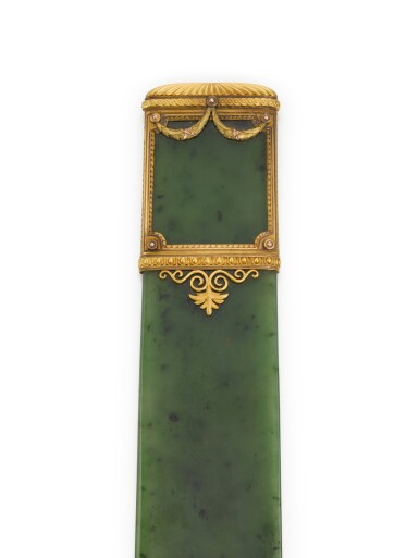 View 3. Thumbnail of Lot 21. A Fabergé varicoloured gold-mounted nephrite letter-opener, workmaster Michael Perchin, St Petersburg, circa 1890.