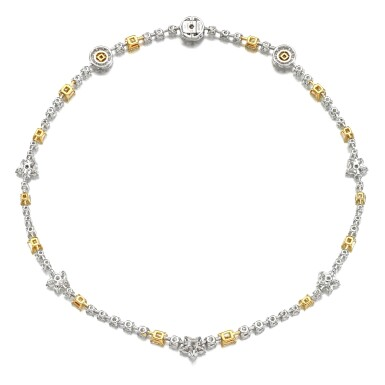 View 3. Thumbnail of Lot 18. Coloured diamond and diamond necklace.