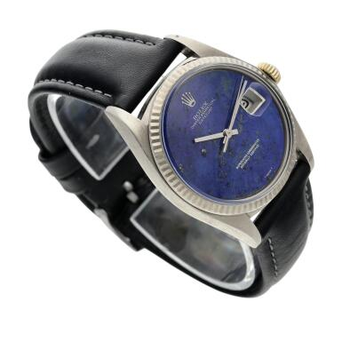 View 3. Thumbnail of Lot 18. Reference 1601 Datejust  A white gold automatic wristwatch with date and lapis lazuli dial, Circa 1977 .