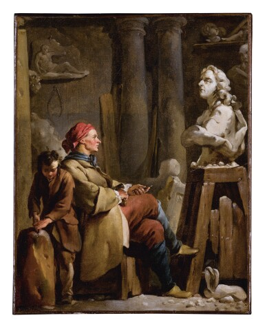 View 1. Thumbnail of Lot 8. JEAN-BAPTISTE-MARIE PIERRE | A SCULPTOR IN HIS STUDIO.