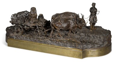View 1. Thumbnail of Lot 287. Taking the Ducks to Market: A bronze figural group, cast by Woerffel, after the model by Leonid Posen (1849-1921), circa 1890.