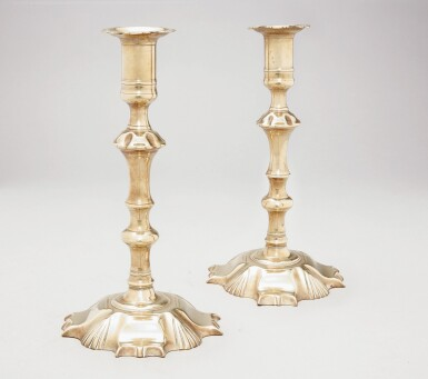 View 2. Thumbnail of Lot 1109. PAIR OF CHIPPENDALE CAST-BRASS PETAL-BASE CANDLESTICKS, ENGLAND, CIRCA 1770.