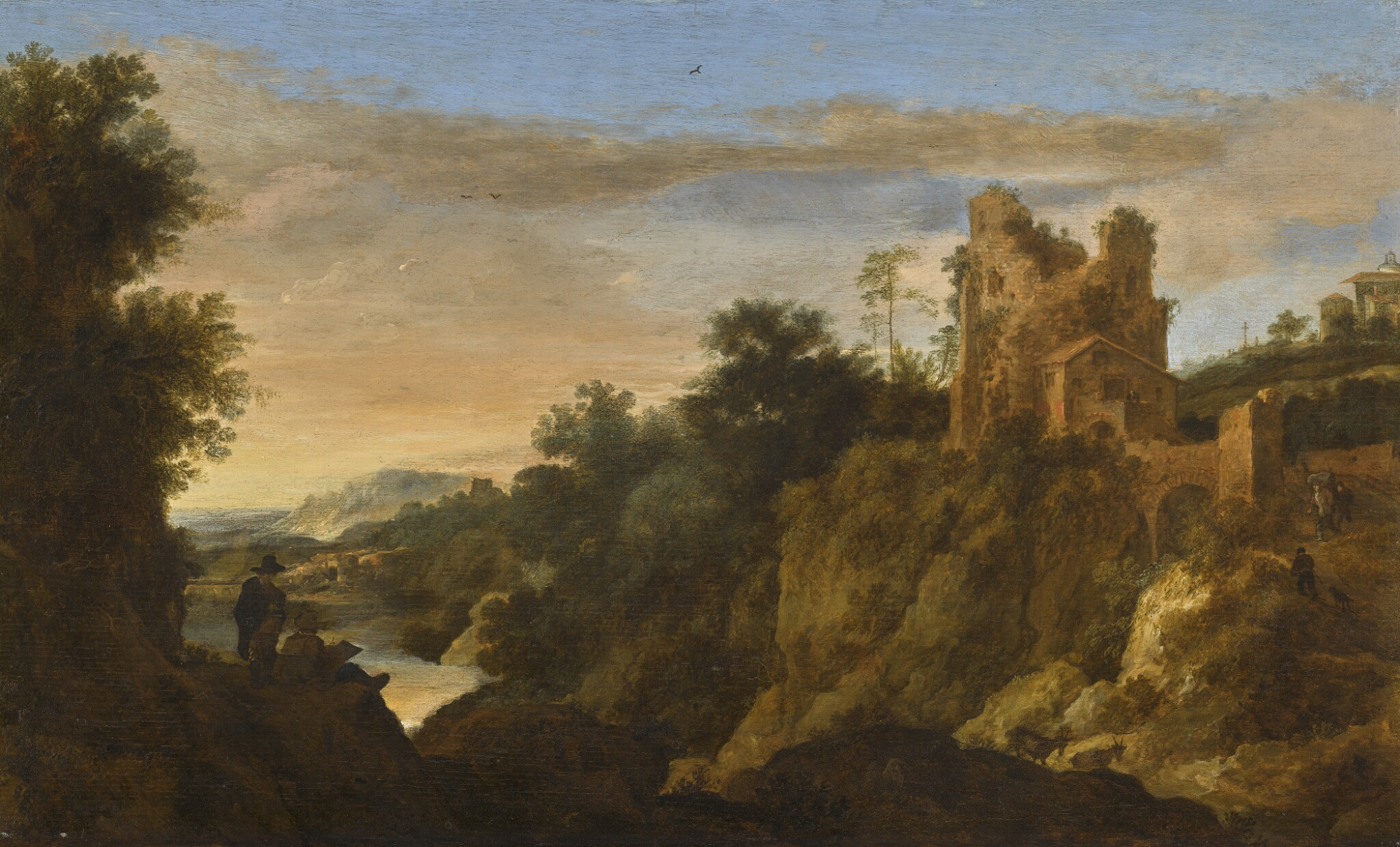 View full screen - View 1 of Lot 45. PIETER DE MOLIJN | Italianate mountain landscape at sunset with a draughtsman, a ruined building beyond.