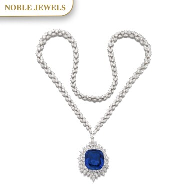 View 1. Thumbnail of Lot 173. Harry Winston | Impressive sapphire and diamond necklace | 海瑞溫斯頓 | 藍寶石配鑽石項鏈.