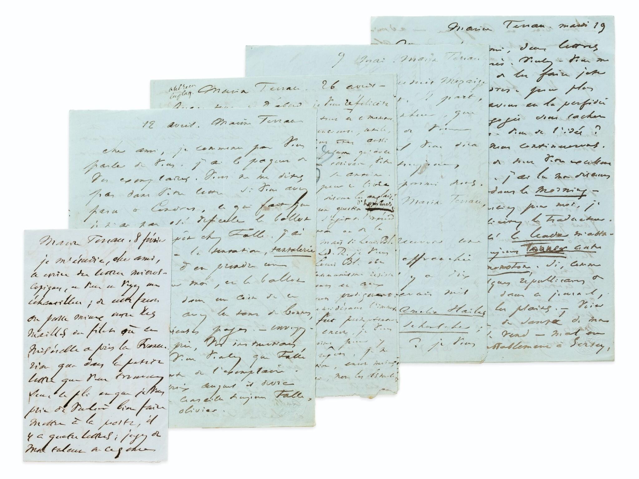 View full screen - View 1 of Lot 114. 5 lettres autographes à Victor Schoelcher, 1853-1855. A l'avocat de l'abolitionnisme de l'esclavage..
