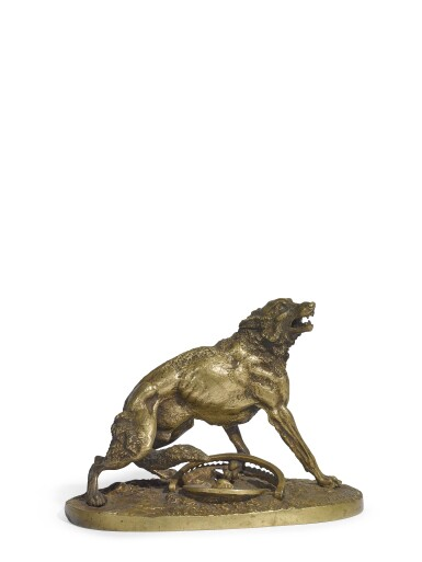 Wolf caught in a trap: a small gilt-bronze figure, after the model by Nikolai Ivanovich Lieberich (1828-1883), cast by Woerffel Foundry, St Petersburg