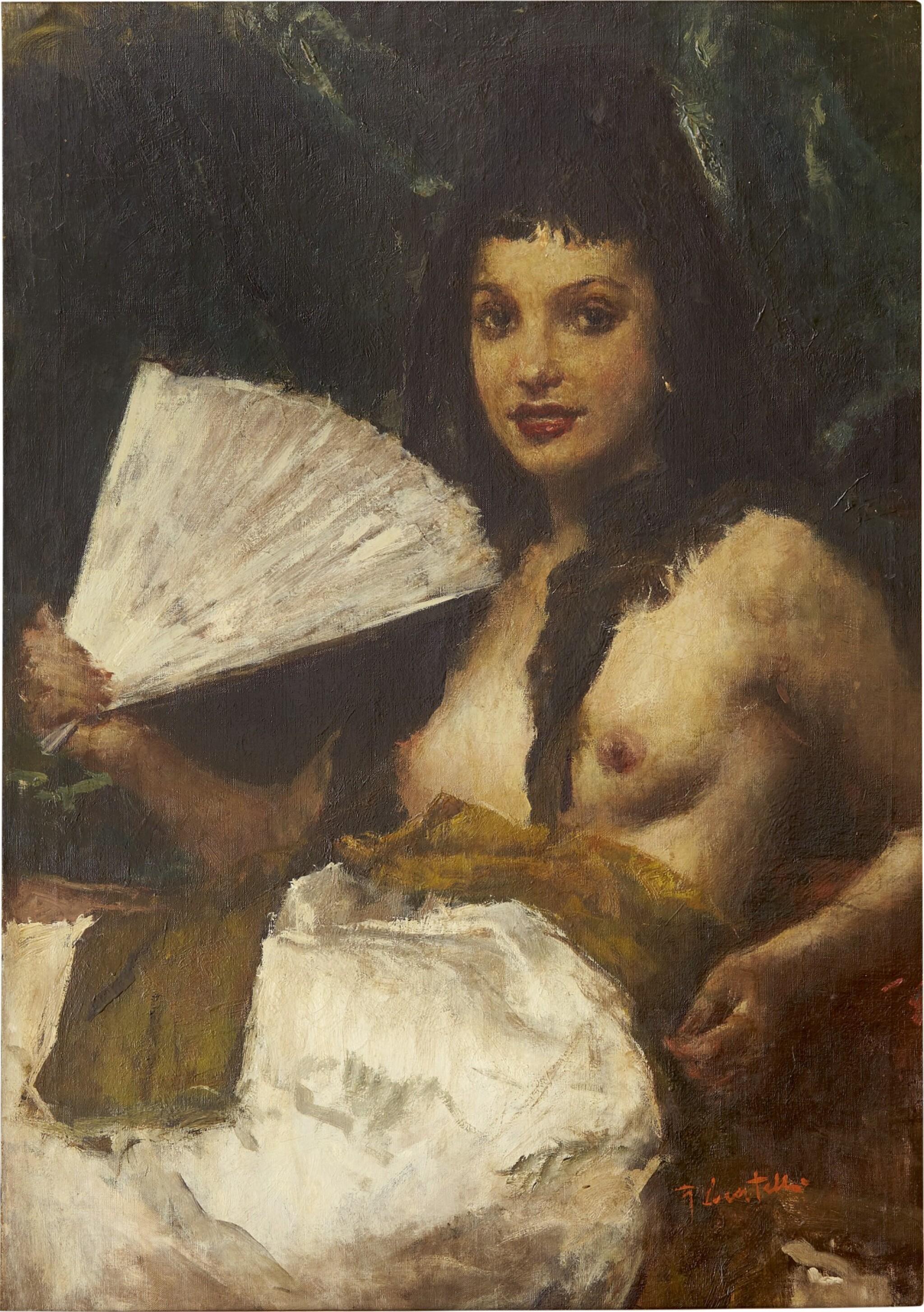 View full screen - View 1 of Lot 296. ROMUALDO FREDERICO LOCATELLI 羅莫爾多·羅格泰利  | NUDE WITH A FAN (LA MADRILEÑA/ LADY FROM MADRID) 紈扇裸體 (馬德里的女士).