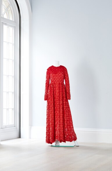 View 2. Thumbnail of Lot 34. Red Tulle Illusion Dress à merlons, Worn by Jane Fonda at the 2020 Screen Actors Guild Awards, Pre-Autumn 2019 Collection.