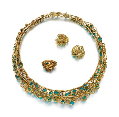 View 3. Thumbnail of Lot 85. TURQUOISE AND DIAMOND PARURE.