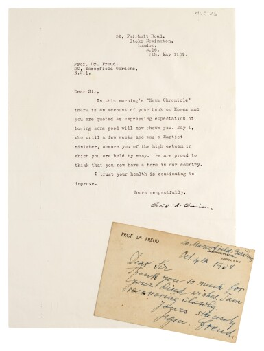 S. Freud. Autograph note signed, 4 October 193[9]