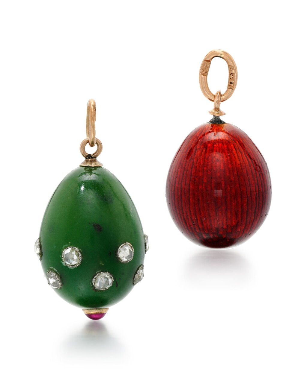 TWO JEWELLED FABERGÉ GOLD, HARDSTONE AND GUILLOCHÉ ENAMEL EGG PENDANTS, WORKMASTERS FEODOR AFANASSIEV AND AUGUST HOLLMING, ST PETERSBURG, CIRCA 1900