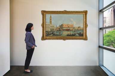 View 4. Thumbnail of Lot 180. FOLLOWER OF GIOVANNI ANTONIO CANAL, CALLED IL CANALETTO | Venice, a view of the Bacino Di San Marco, looking east, with the Zecca, the Liberia, the Piazzetta and the Palazzo Ducale.