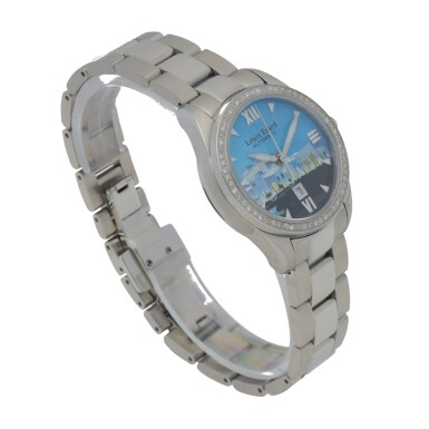 View 3. Thumbnail of Lot 474. ROYAL OPERA HOUSE MUSCAT STAINLESS STEEL AND DIAMOND-SET WRISTWATCH WITH DATE AND BRACELET.