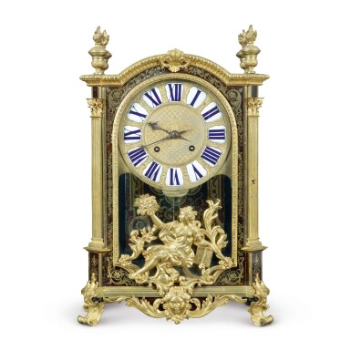 View 1. Thumbnail of Lot 708. A LOUIS XIV GILT BRONZE-MOUNTED BOULLE MARQUETRY MANTEL CLOCK.