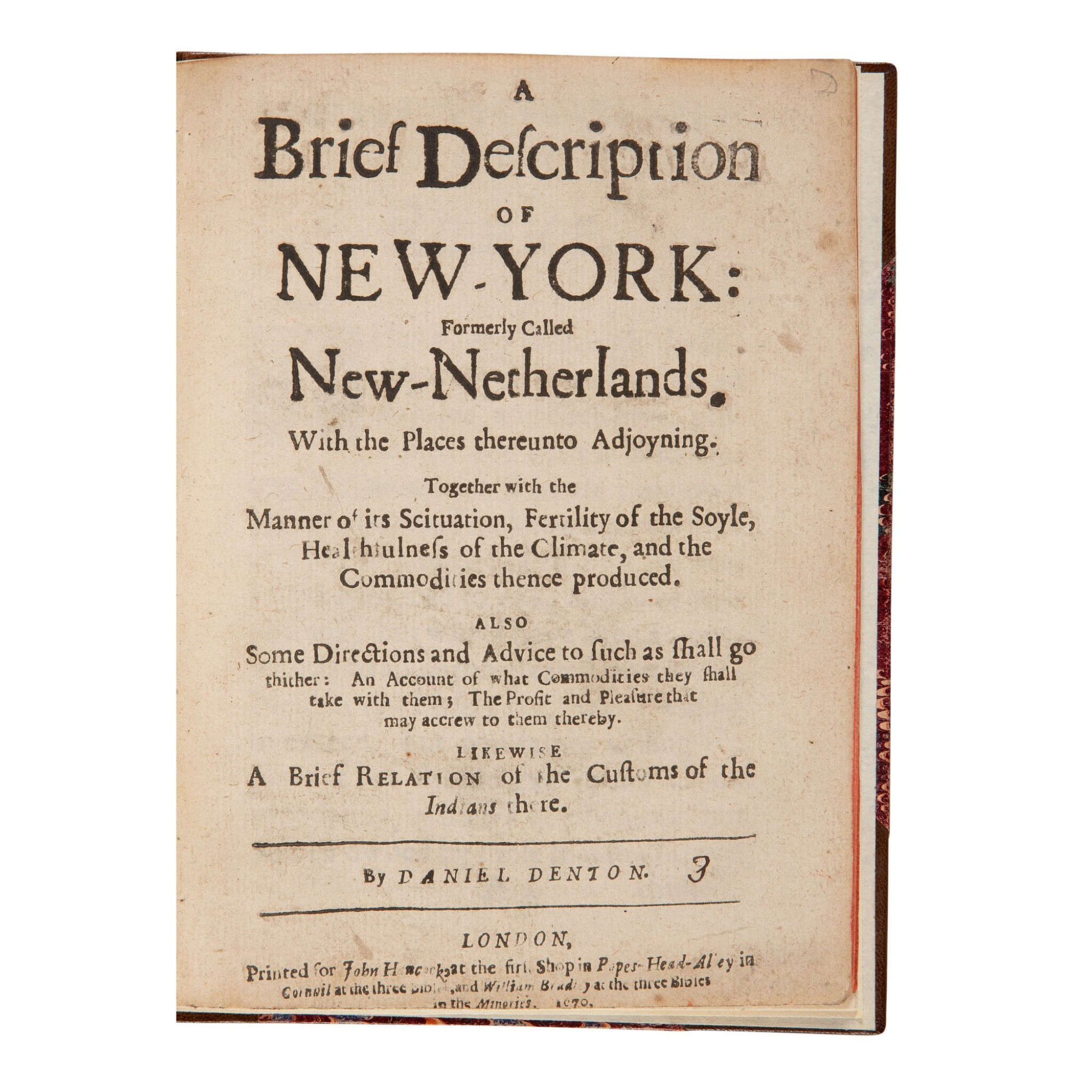 "View full screen - View 1 of Lot 135. Denton, Daniel | Daniel Denton's New-York, one of ""the finest American promotional tracts of the seventeenth century""."