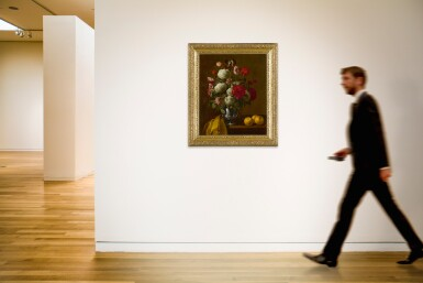 View 4. Thumbnail of Lot 537. FOLLOWER OF JAN FYT   STILL LIFE OF FLOWERS IN A SILVER VASE.