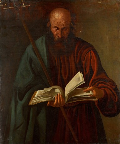 MANNER OF GEORGES DE LA TOUR | An apostle holding a staff and a book