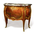 A FRENCH GILT BRONZE-MOUNTED KINGWOOD AND VERNIS MARTIN COMMODE BY FRANCOIS LINKE, LATE 19TH CENTURY