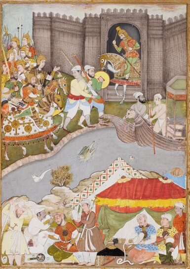 AN ARMY APPROACHES A FORT BY A RIVER, ILLUSTRATION FROM A MUGHAL MANUSCRIPT, INDIA, POPULAR MUGHAL, EARLY 17TH CENTURY, REPAINTED EARLY 19TH CENTURY