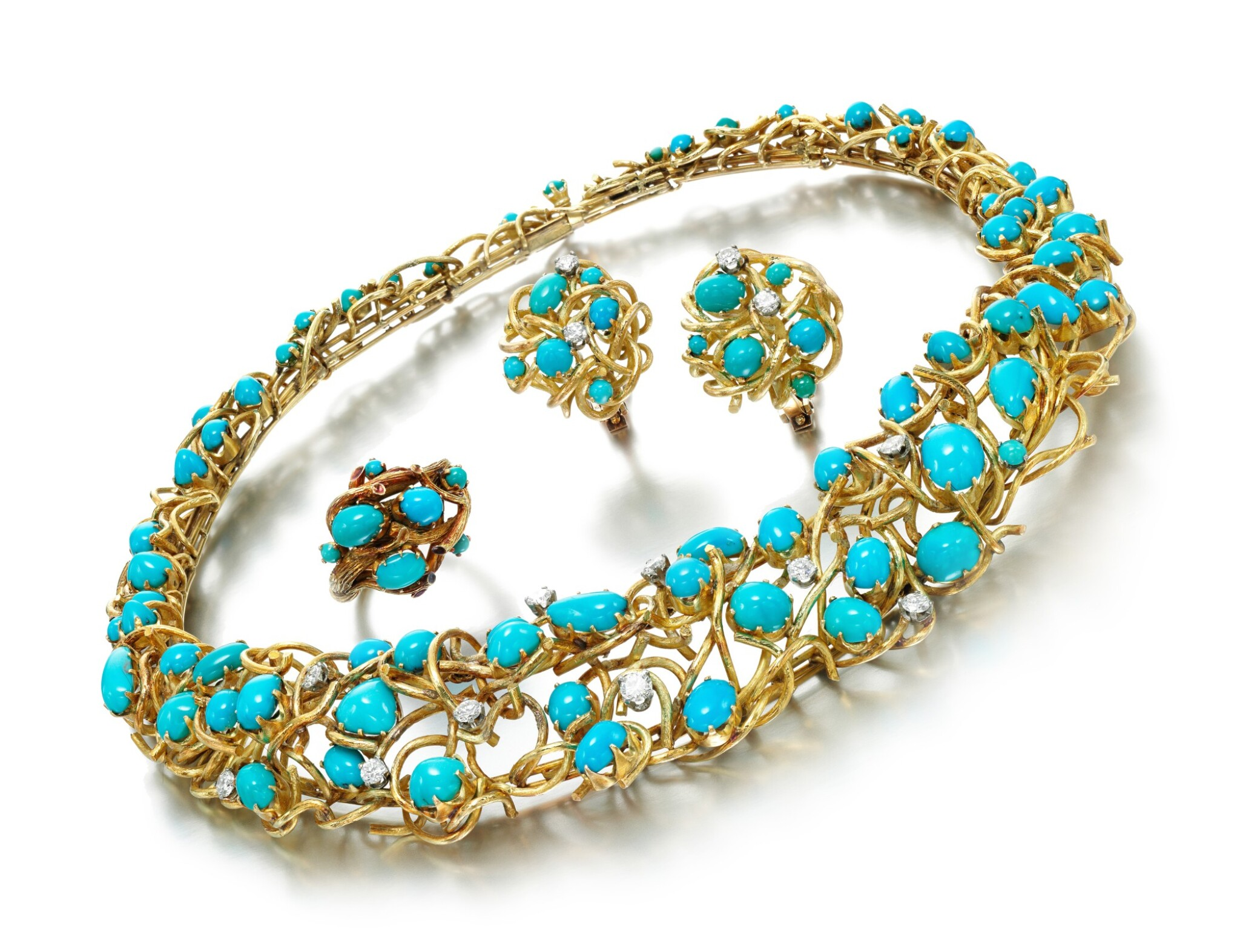 View full screen - View 1 of Lot 85. TURQUOISE AND DIAMOND PARURE.