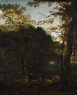 ADAM PYNACKER | A landscape with cattle and figures in a woodland clearing