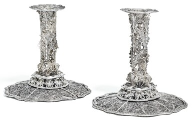 A PAIR OF SILVER FILIGREE CANDLESTICKS, UNMARKED, CIRCA 1700