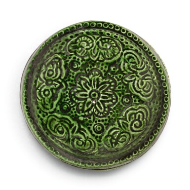 View 1. Thumbnail of Lot 225. A RARE GREEN-GLAZED MOULDED AND INCISED BOX AND COVER, TANG DYNASTY | 唐 綠釉印花小蓋盒.