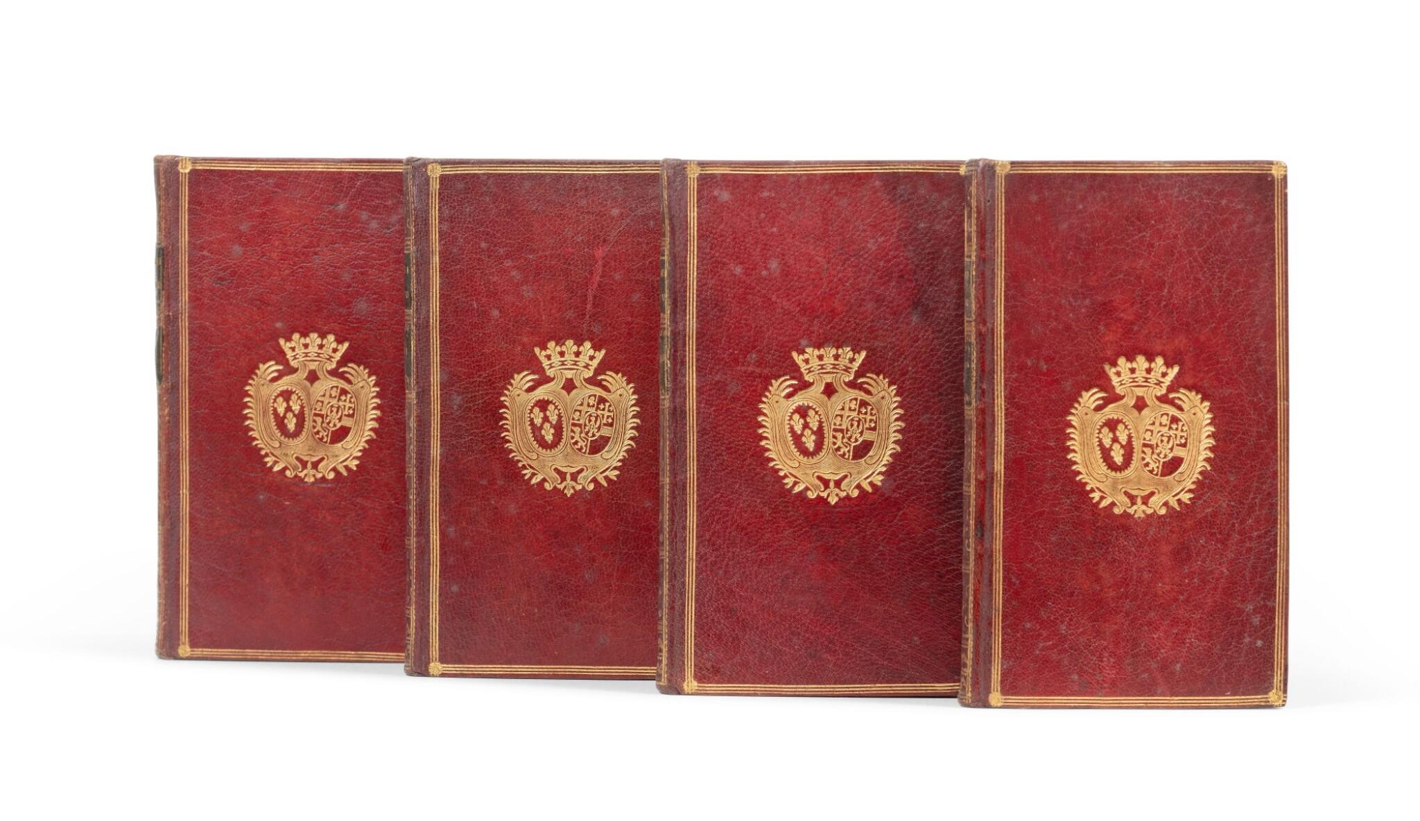 View full screen - View 1 of Lot 82. Le Paradis perdu. Paris, 1765. 4 vol in-12. Maroquin rouge, aux armes de la comtesse de Provence..