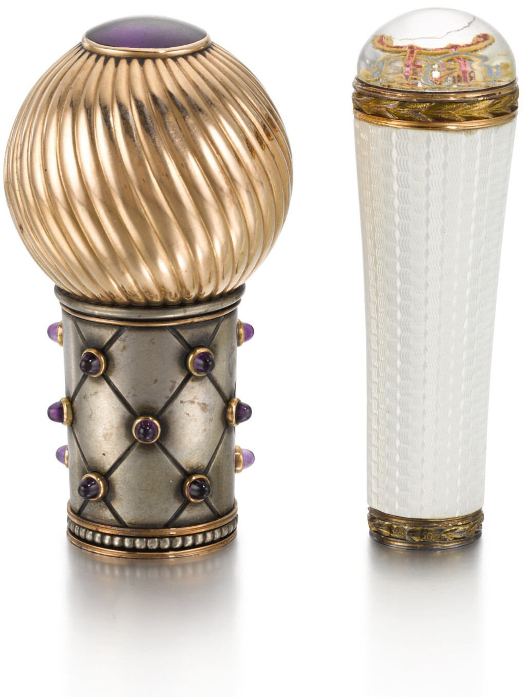 TWO PARASOL HANDLES, IN THE STYLE OF FABERGÉ, 20TH CENTURY