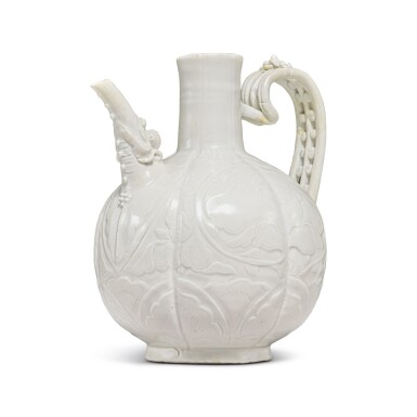 View 4. Thumbnail of Lot 185. A finely carved and molded 'Ding' ewer, Northern Song dynasty | 北宋 定窰白釉牡丹紋執壺.