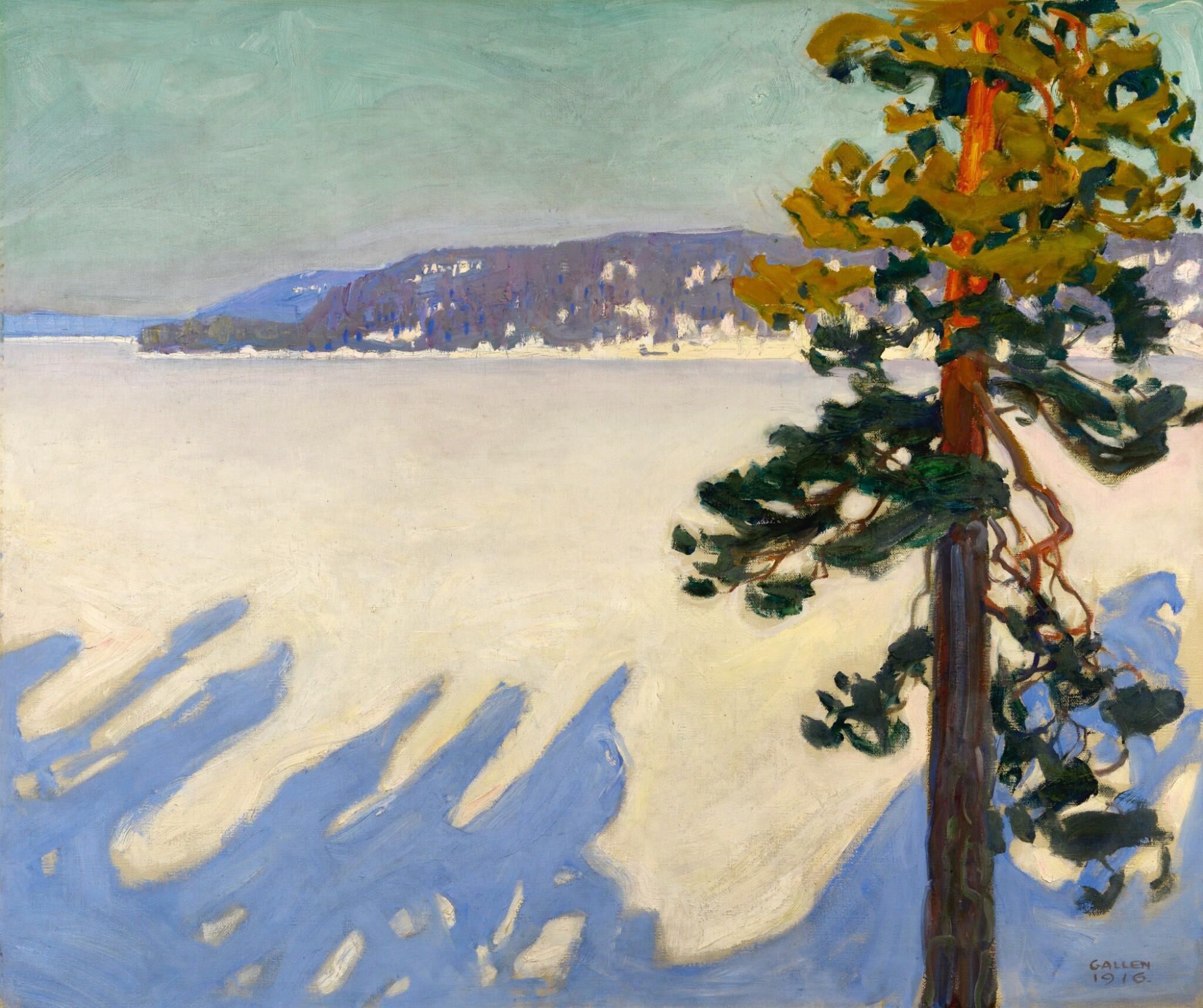 View full screen - View 1 of Lot 16. AKSELI GALLEN-KALLELA   Lake Ruovesi in Winter.