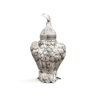 View 4. Thumbnail of Lot 10. A German silver novelty pepper in the form of a cockerel, Hanau, circa 1890, sponsor's mark of Berthold Muller, English import marked for London, 1896,.