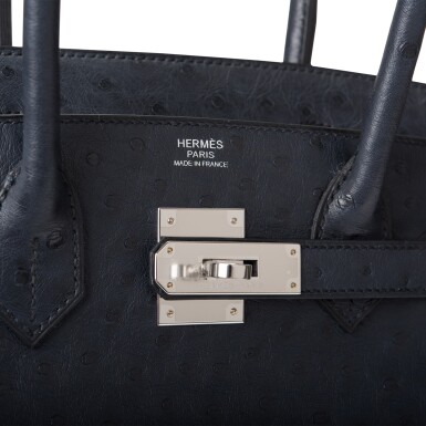 View 7. Thumbnail of Lot 2. Hermès Bleu Indigo Birkin 30cm of Ostrich with Palladium Hardware.