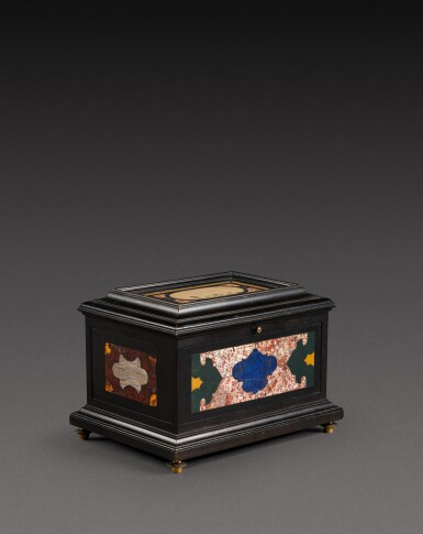 View 1. Thumbnail of Lot 179. An Italian pietra paesina and hardstones inlaid ebonised casket, the panel in the lid, Florence, 18th century, the other panels, Rome and 17th century; the casket late 19th century/early 20th century.