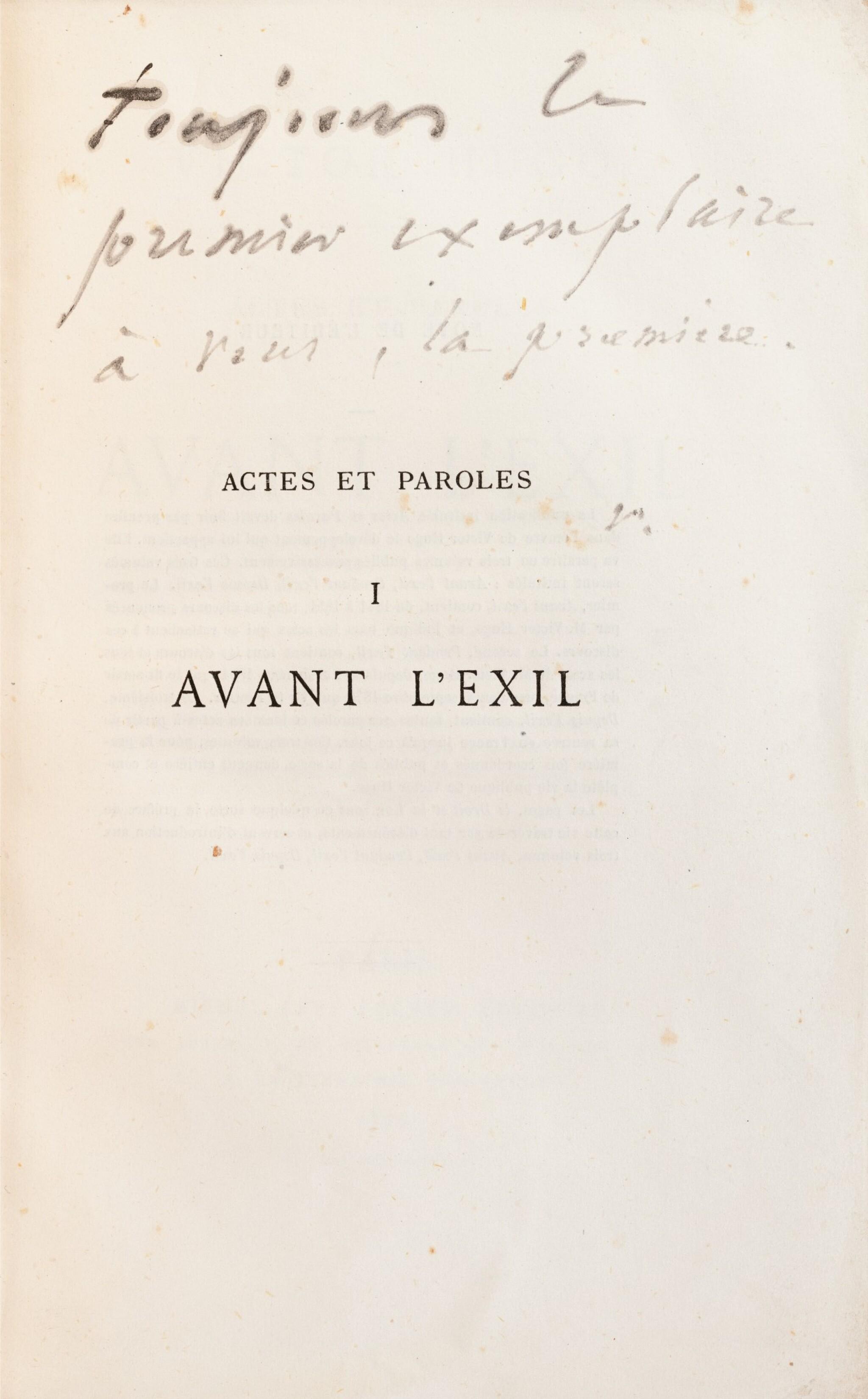 """View full screen - View 1 of Lot 120. Actes et Paroles. 1875-1876. 3 vol, chacun avec un envoi à Juliette Drouet, """"la première""""."""