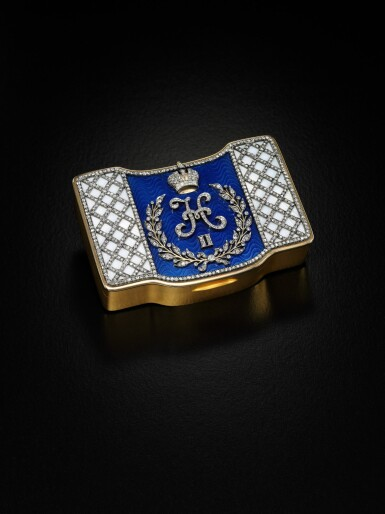 View 2. Thumbnail of Lot 5. An Important Imperial Presentation jewelled gold and guilloché enamel snuffbox, workmaster Nikolai Chernokov, Bolin, St Petersburg, 1908-1917.
