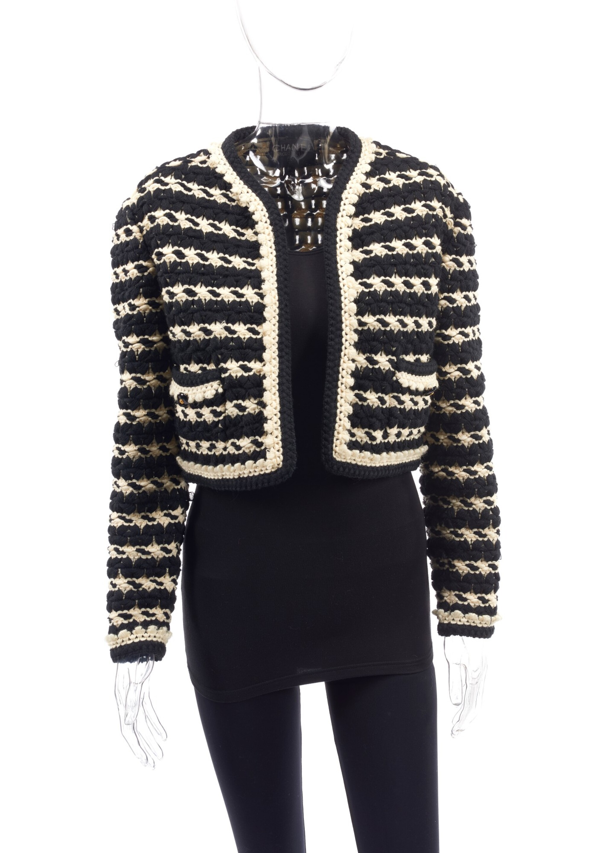 View full screen - View 1 of Lot 91.  BLACK AND WHITE KNITTED JACKET, CHANEL.