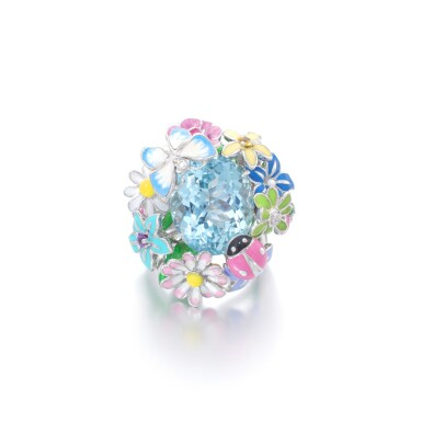 View 1. Thumbnail of Lot 21. Gem set and diamond ring, 'Diorette'.