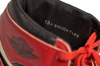 View 15. Thumbnail of Lot 1. Michael Jordan's Game Worn 1985 Player Sample Air Jordan 1s | Sizes 13, 13.5.