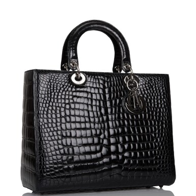 View 2. Thumbnail of Lot 105. CHRISTIAN DIOR    BLACK SHINY NILOTICUS CROCODILE LARGE LADY DIOR BAG WITH RUTHENIUM HARDWARE.