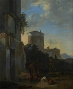 ADRIAEN VAN DER KABEL | AN ITALIANATE VILLAGE STREET WITH A HORSE, GOATS, AND MAN ON A DONKEY