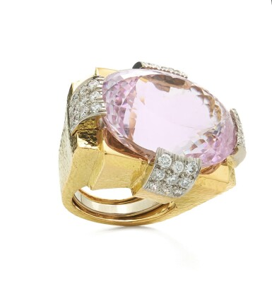 View 2. Thumbnail of Lot 83. DAVID WEBB | GOLD, KUNZITE AND DIAMOND RING.